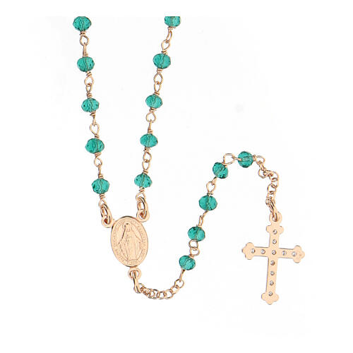 Collar Rosario AMEN clásico Pavè cristales verdes plata 925 Rosado 2