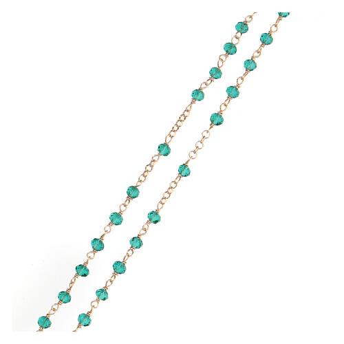 Collar Rosario AMEN clásico Pavè cristales verdes plata 925 Rosado 3