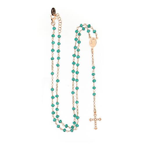 Collar Rosario AMEN clásico Pavè cristales verdes plata 925 Rosado 4