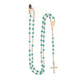 Collier chapelet AMEN classique pavé cristaux verts arg 925 rosé s4