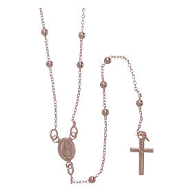 Metal rosaries: AMEN rosary necklace 2,5 mm diameter bronze rosè
