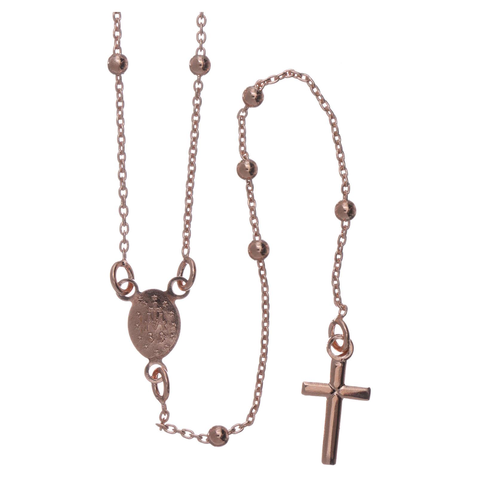 Collar rosario AMEN cuentas diám. 2,5 mm bronce rosado 4