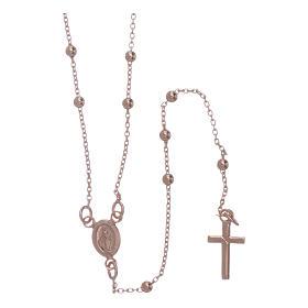 Collar rosario AMEN cuentas diám. 2,5 mm bronce rosado s1