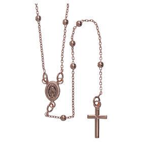 Collar rosario AMEN cuentas diám. 2,5 mm bronce rosado s2
