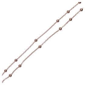 Collar rosario AMEN cuentas diám. 2,5 mm bronce rosado s4