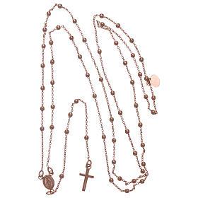 Collar rosario AMEN cuentas diám. 2,5 mm bronce rosado s5