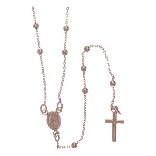 Collar rosario AMEN cuentas diám. 2,5 mm bronce rosado 1