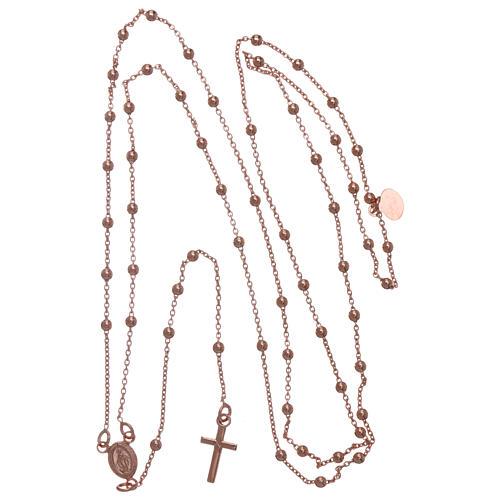 Collar rosario AMEN cuentas diám. 2,5 mm bronce rosado 5