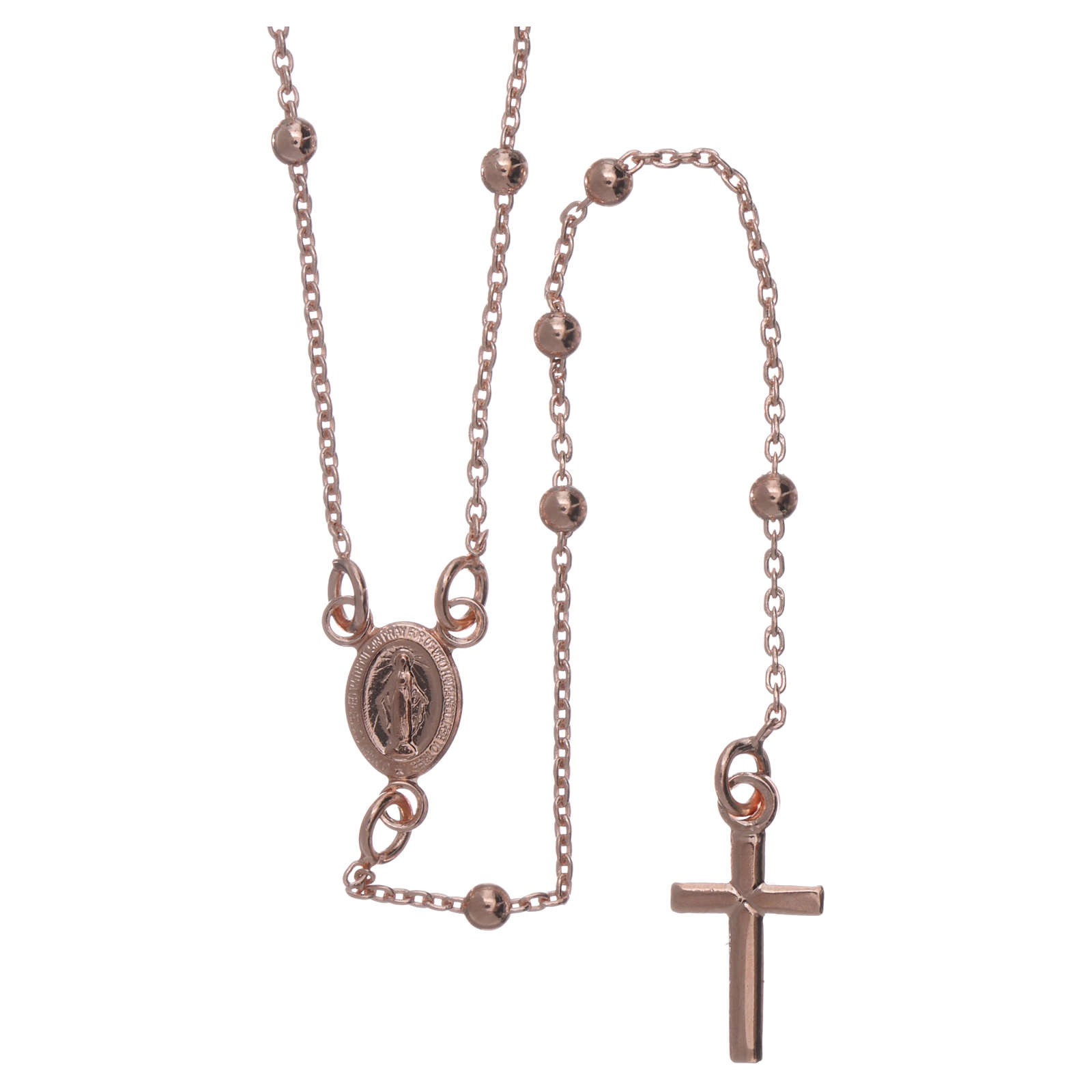 Collana rosario AMEN diam 2,5 mm bronzo Rosè 4