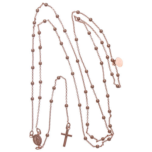 Collana rosario AMEN diam 2,5 mm bronzo Rosè 5