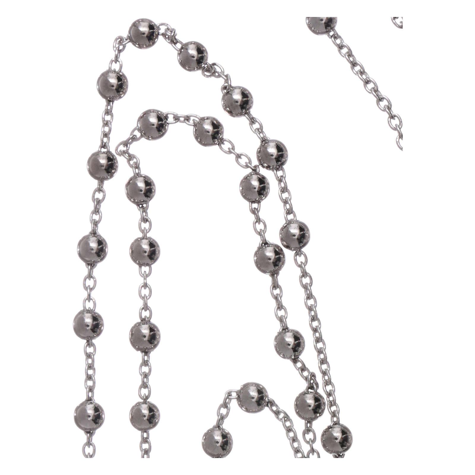 vasta selezione di 2bc3b 452ad Collana rosario AMEN diam 4 mm bronzo Rodio