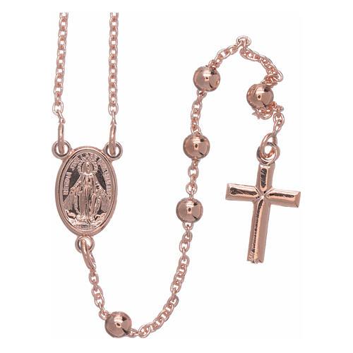 AMEN rosary necklace 4 mm diameter bronze rosè 1