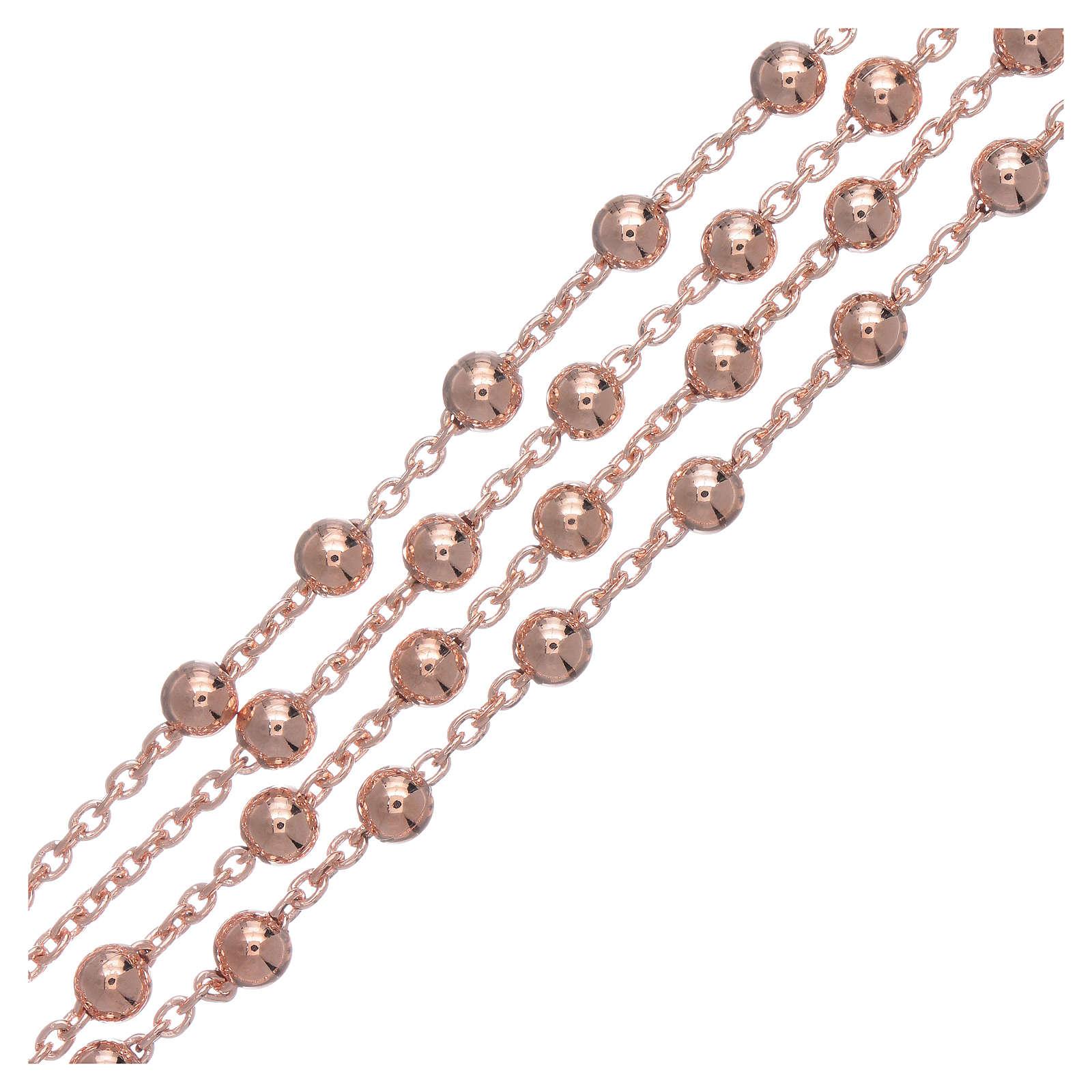 Collar rosario AMEN diám 4 mm bronce rosado 4
