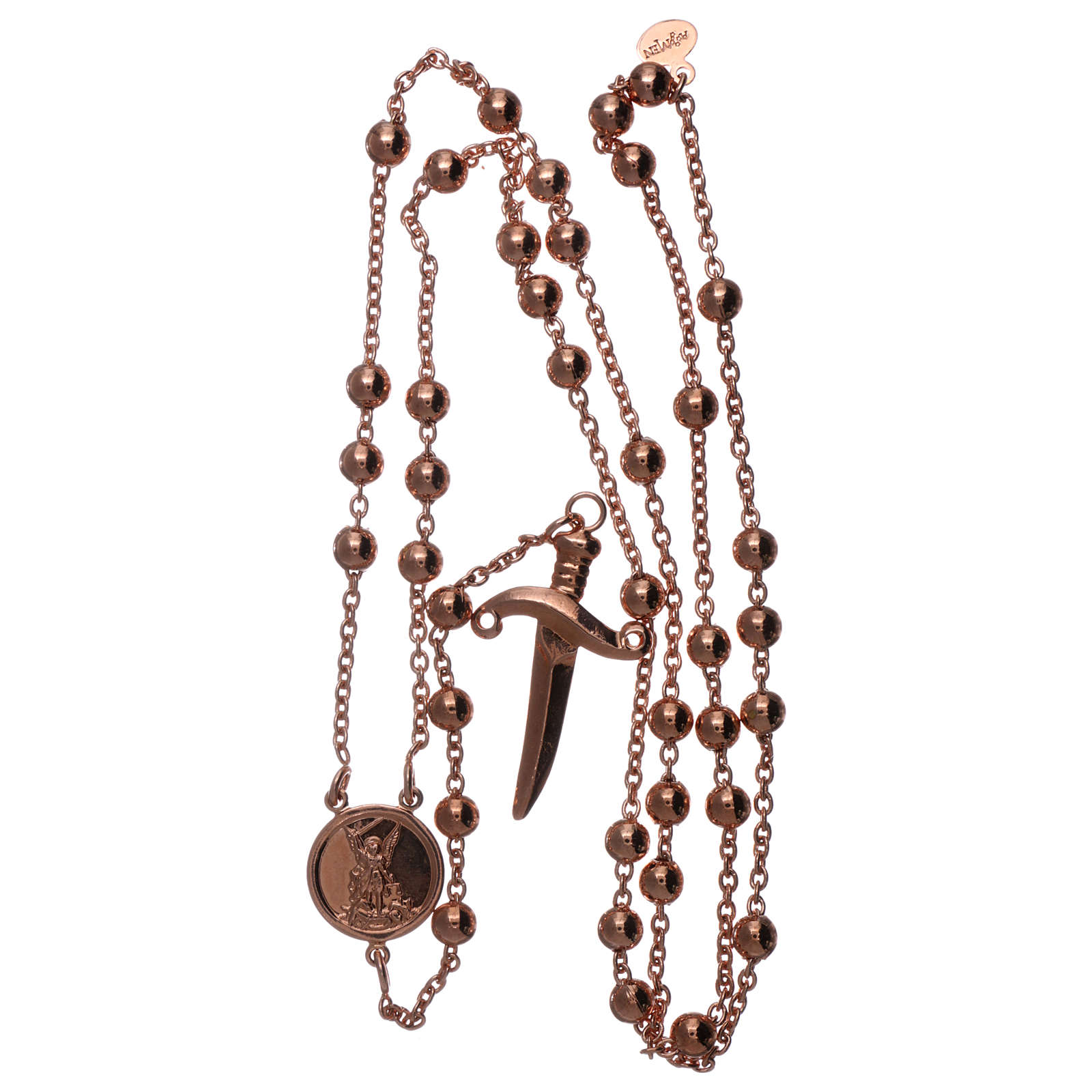 AMEN rosary bracelet Saint Micheal the Archangel in bronze finished in rosè 4