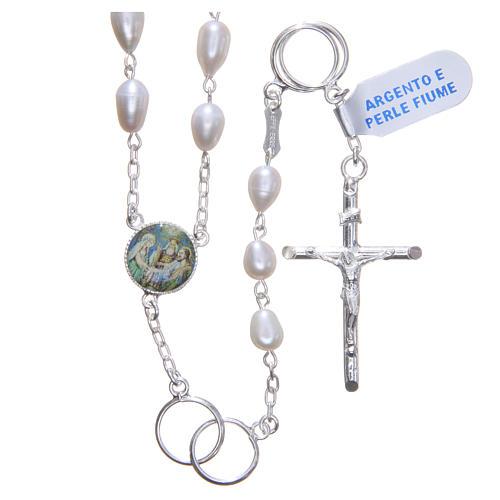 Chapelet mariage perles fleuve argent 925 1