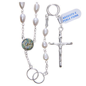 Wedding rosary beads with river pearls in 925 silver s1