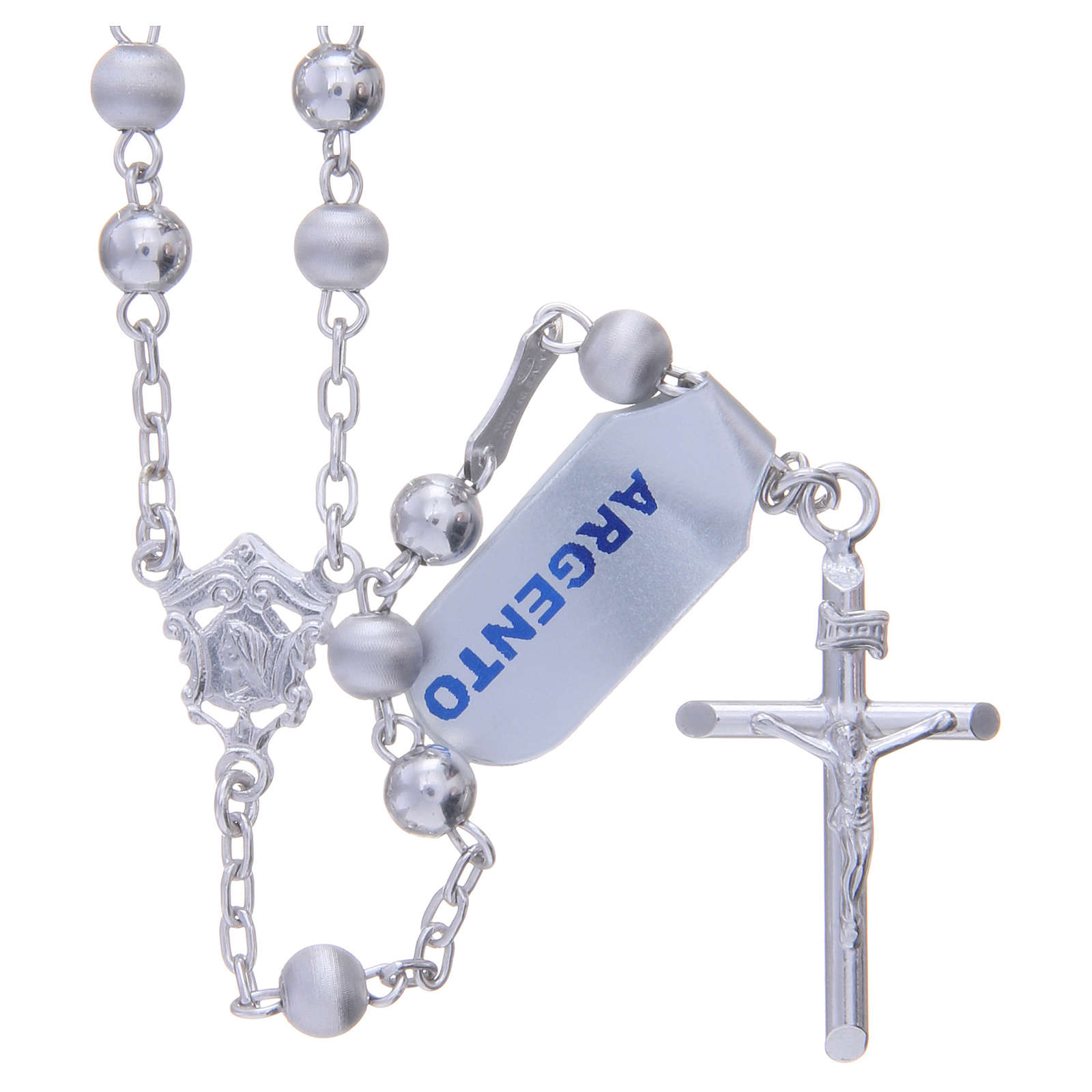 Rosary in 925 silver with 5mm velvety and smooth grains 4