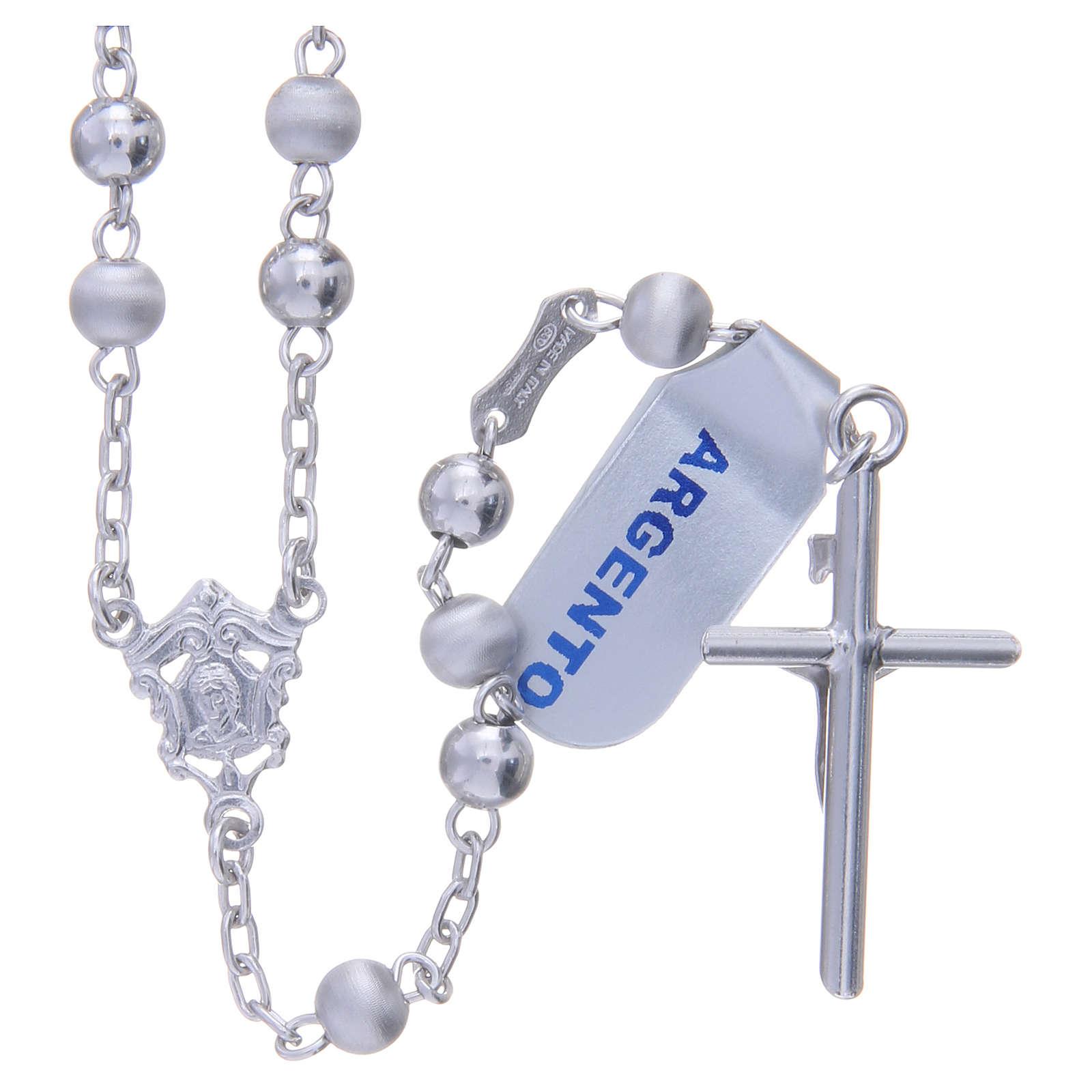 Chapelet argent 925 perles 5 mm lisses et satinées 4