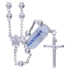 Chapelet argent 925 perles 5 mm lisses et satinées s1