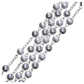 Rozenkranz Silber 925 satinierten Perlen 6mm s3