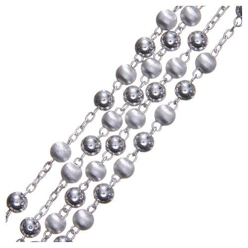 Rozenkranz Silber 925 satinierten Perlen 6mm 3