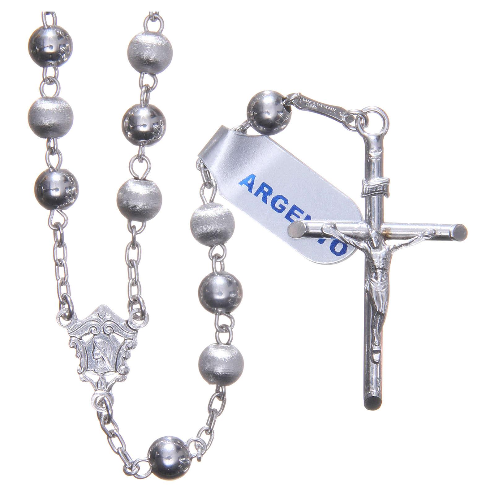 Chapelet argent 925 perles 6 mm lisses et satinées 4