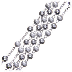 Chapelet argent 925 perles 6 mm lisses et satinées s3
