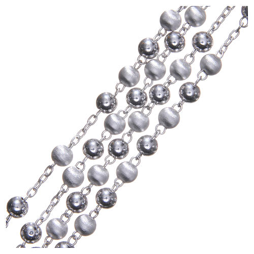 Chapelet argent 925 perles 6 mm lisses et satinées 3