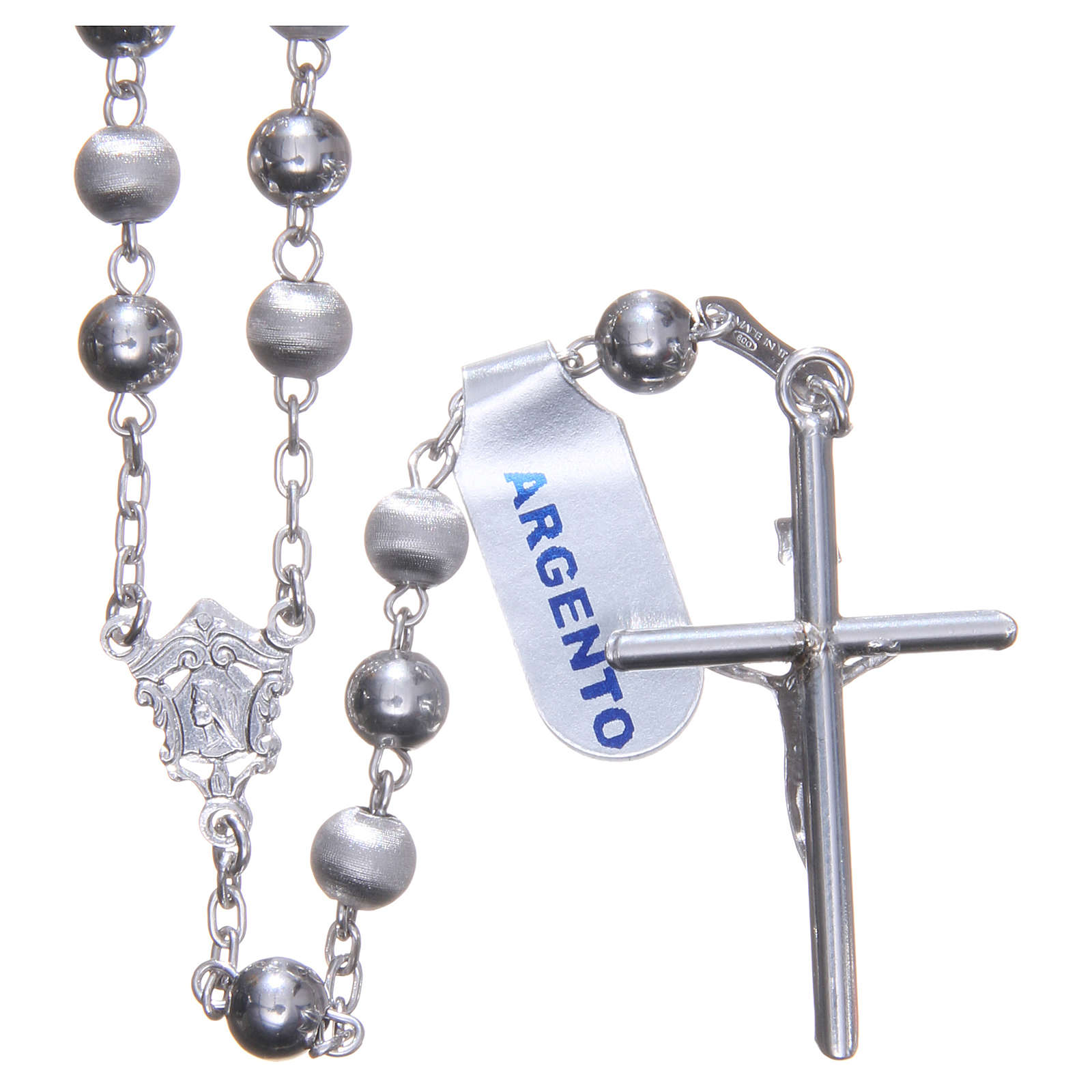 Rosary in 925 silver with 6mm velvety and smooth grains 4