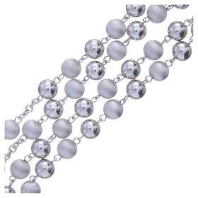 Terço prata 925 contas 8 mm brilhantes e opacas s3