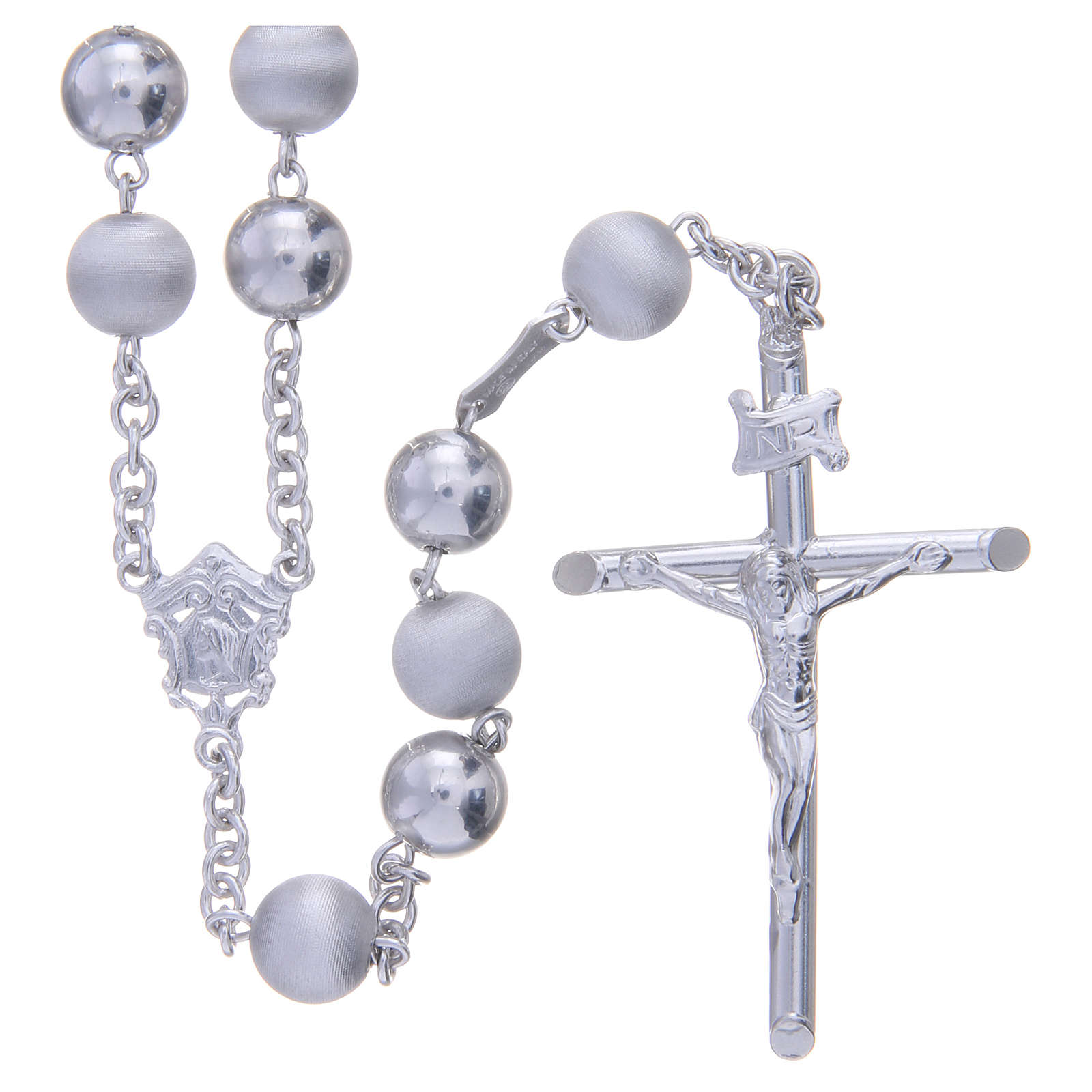 Rosary in 925 silver with 8mm velvety and smooth grains 4