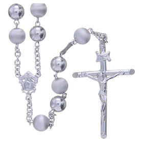 Rosary in 925 silver with 8mm velvety and smooth grains s1