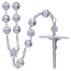 Rosary in 925 silver with 8mm velvety and smooth grains s2