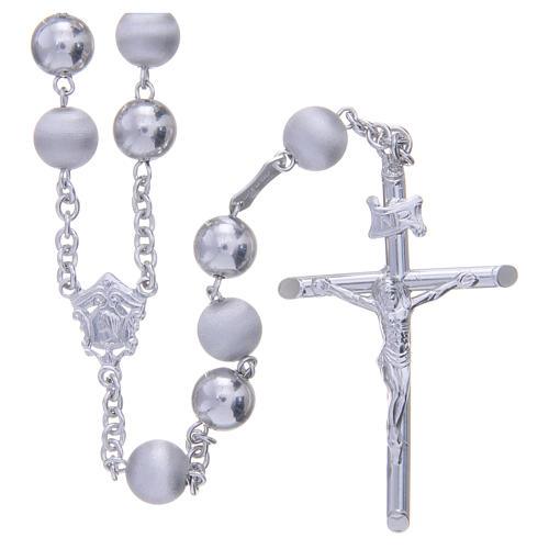 Rosary in 925 silver with 8mm velvety and smooth grains 1