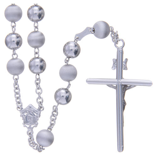 Rosary in 925 silver with 8mm velvety and smooth grains 2