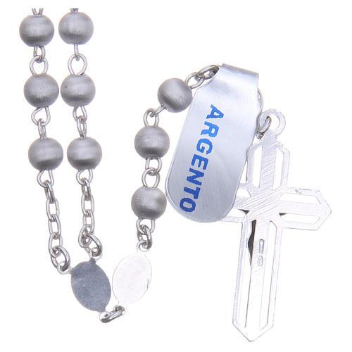 Rosario argento 800 pallino vellutato Vergine Lourdes 2