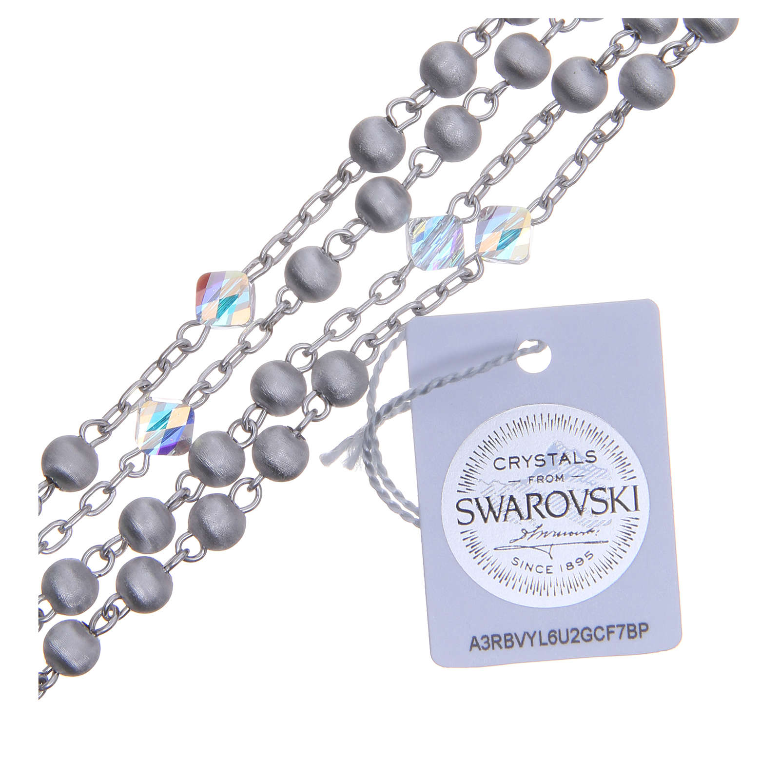 Rosario argento 800 pallino 8 mm vellutato e Swarovski 4
