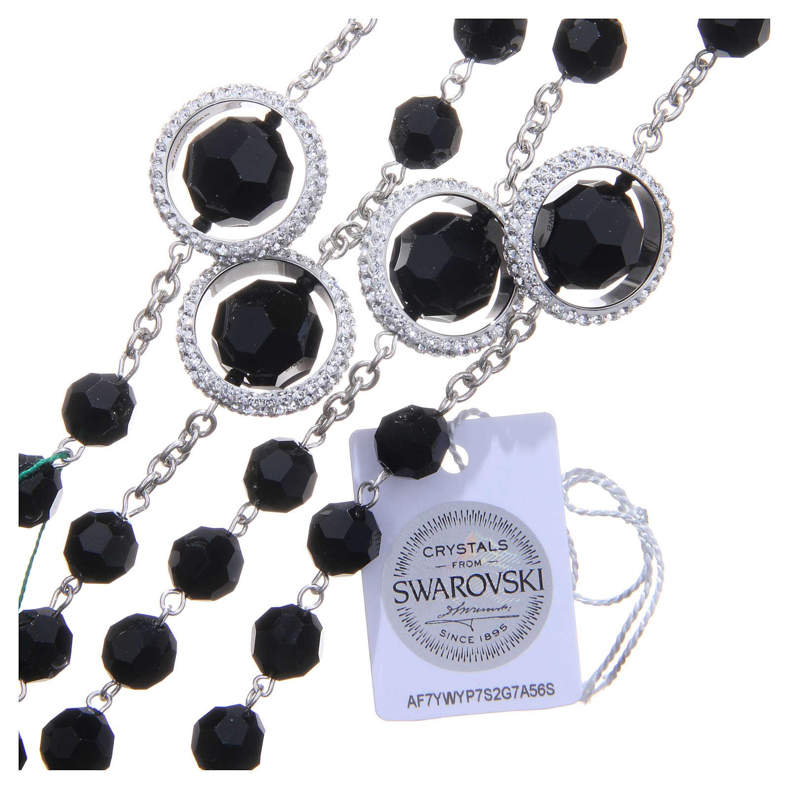 Rosario argento 800 cristallo Swarovski nero 8 mm 4