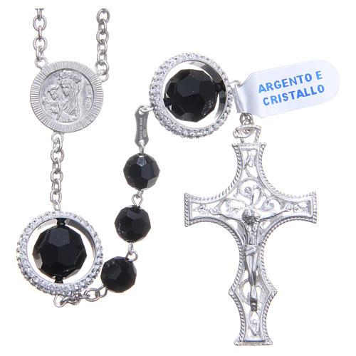 Rosario argento 800 cristallo Swarovski nero 8 mm 1