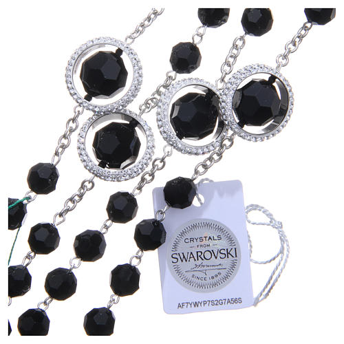 Rosario argento 800 cristallo Swarovski nero 8 mm 3