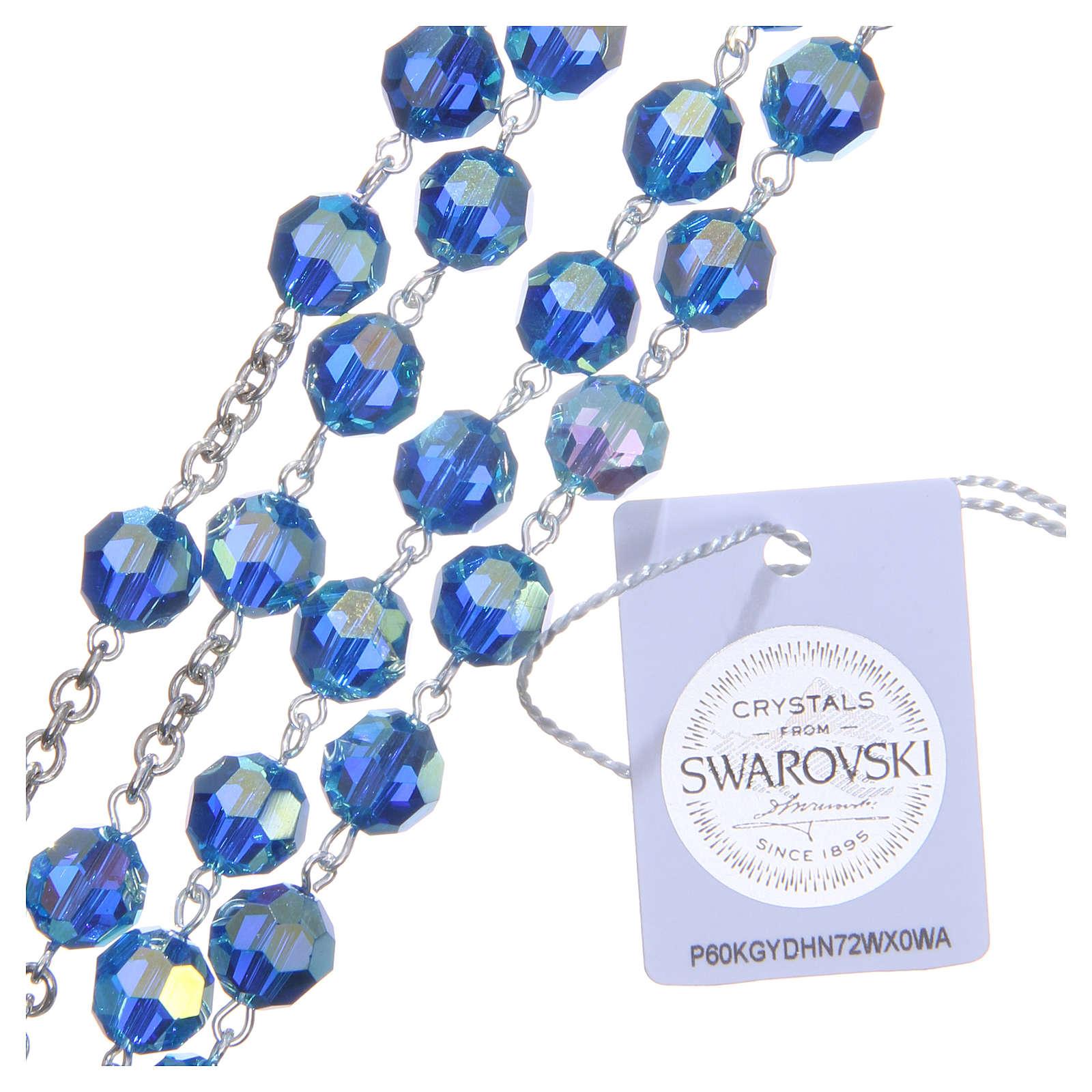 Rosario argento 800 cristallo Swarovski azzurro 8 mm 4