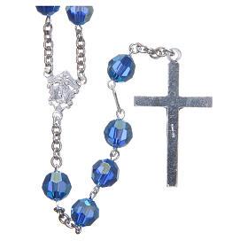 Rosario argento 800 cristallo Swarovski azzurro 8 mm s2