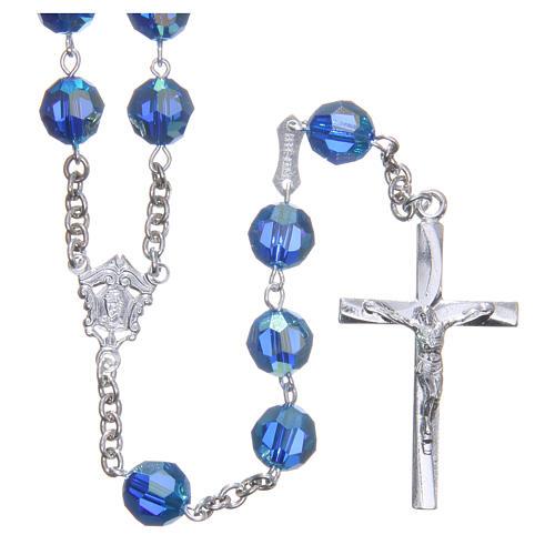 Rosario argento 800 cristallo Swarovski azzurro 8 mm 1