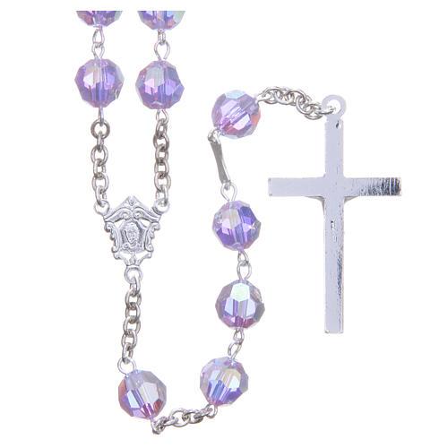 Rosario plata 800 cristal Swarovski violeta 8 mm 2