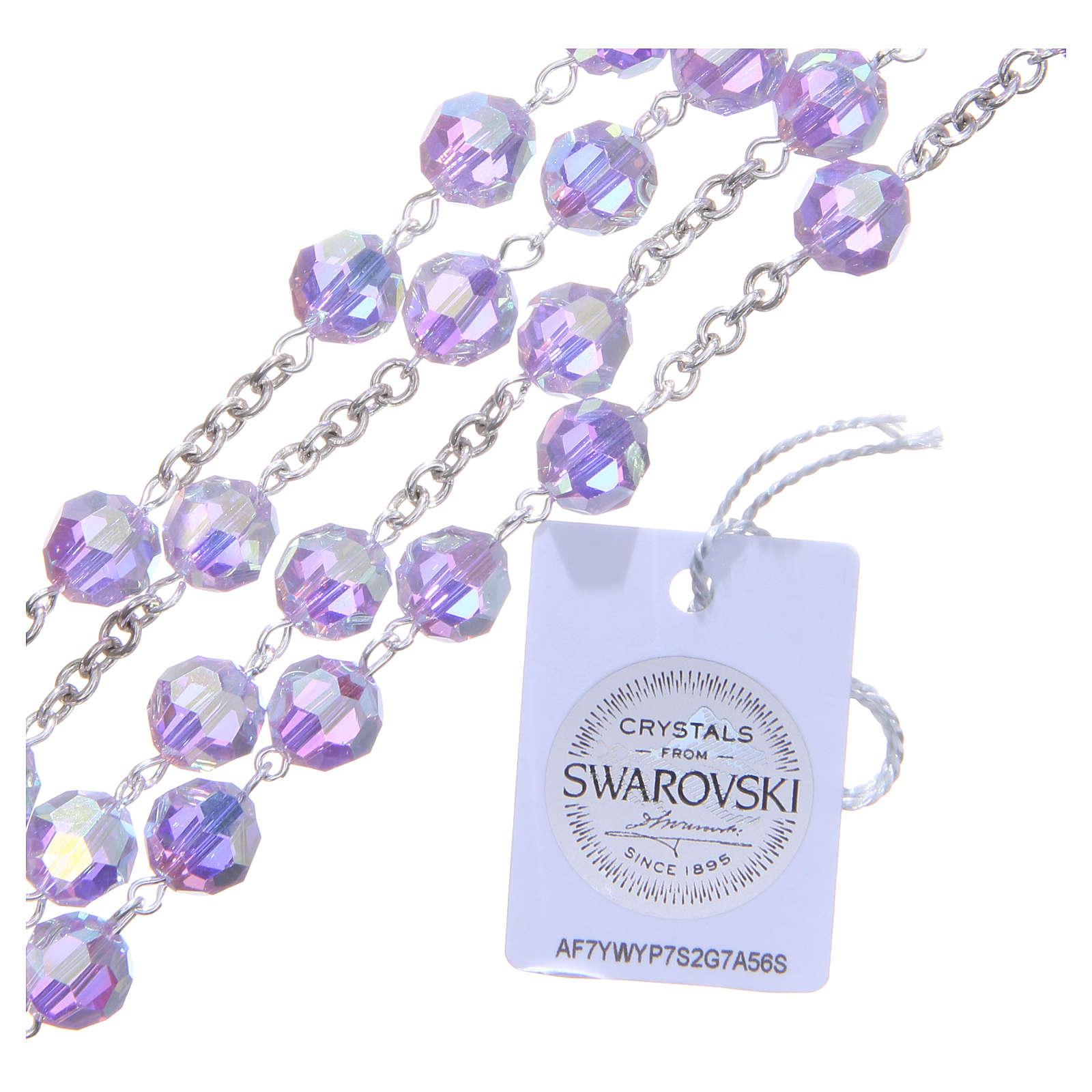 Różaniec srebro 800 kryształ Swarovskiego  fioletowy 8 mm 4