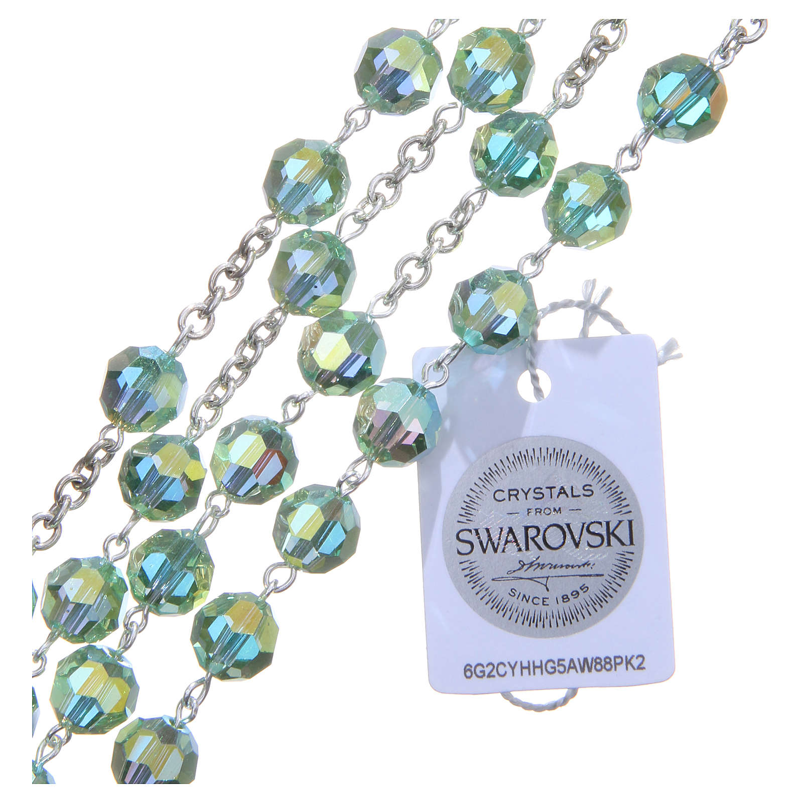 Terço prata 800 cristal Swarovski verde 8 mm 4