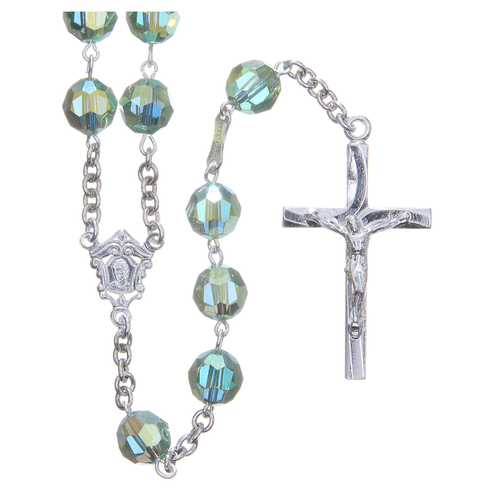 Rosary in 800 silver and green Swarowski crystal grains measuring 8mm 4