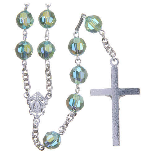 Rosary in 800 silver and green Swarowski crystal grains measuring 8mm 2
