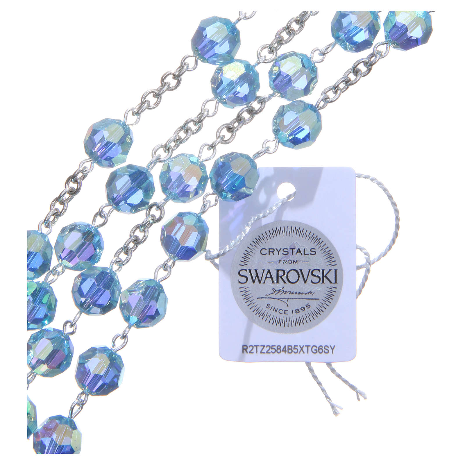 Rosario plata 925 cristal Swarovski celeste 8 mm 4