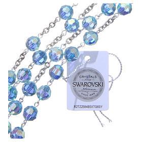Rosario plata 925 cristal Swarovski celeste 8 mm s3